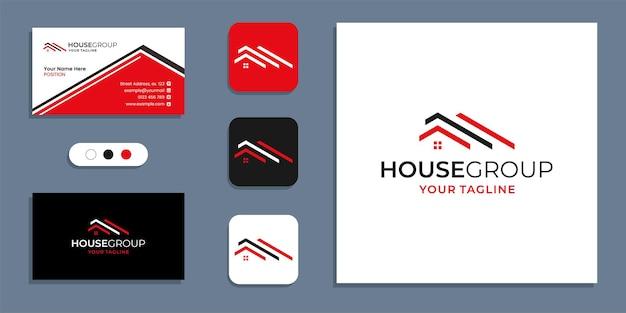 シンプルなクリエイティブハウスグループのロゴと名刺デザインのインスピレーションテンプレート