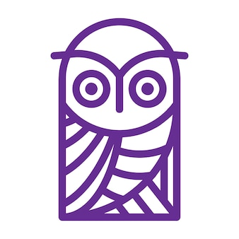 Simple and creative owl logo design vector line
