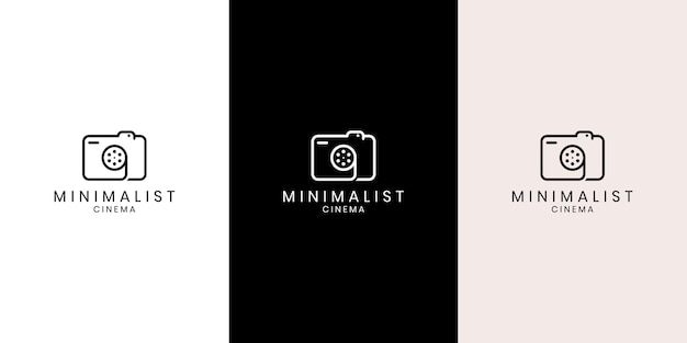 Simple creative photographer symbol, icon, logo consisting of camera and film reel