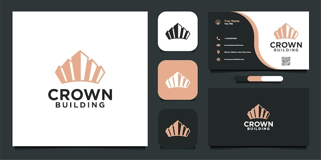 Simple crown building logo and business card design