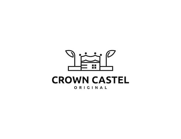 Простой логотип короны с замком или концепцией здания