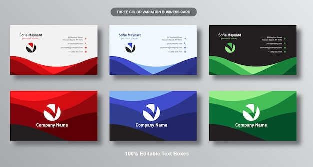 Simple curves business card set
