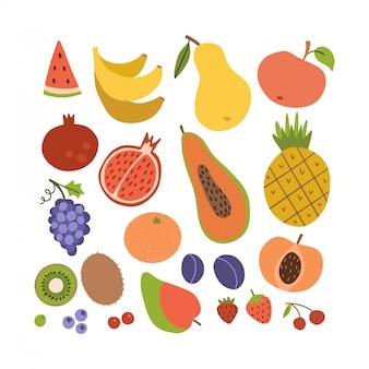 シンプルなかわいいフルーツアイコンコレクション。コロフルな夏のおいしい果物のセットです。漫画のフラットスタイルのイラスト。