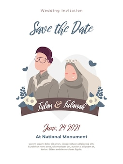 Simple and cute muslim couple wedding invitations