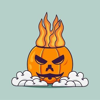 Простая милая тыква огненная голова с облаком иллюстрации