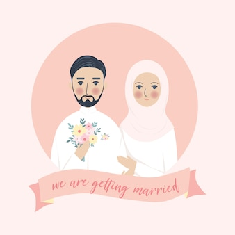 Simple cute wedding muslim couple portrait illustration, walima nikah save the date invitation with pink background