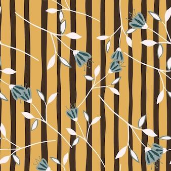 스트라이프 배경에 간단한 귀여운 야생화 원활한 패턴입니다.