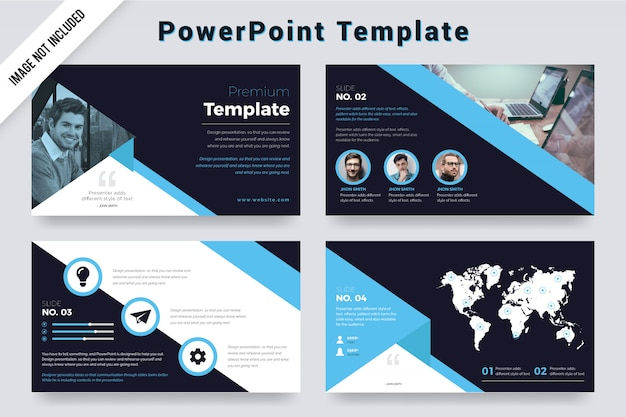 Simple cyan color powerpoint presentation slides with photo.