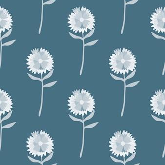 シンプルなタンポポのシームレスなパターン。ネイビーブルーのパステル背景に白いトーンで手描きの花飾り。
