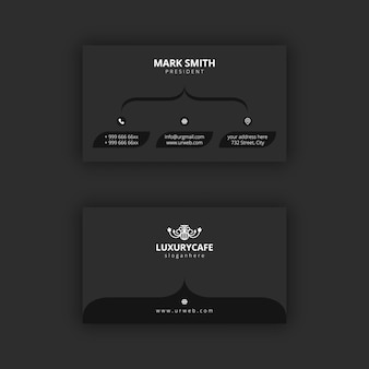 Simple and dark black and white business card template