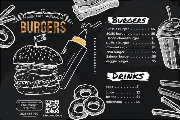Menu di cibo per hamburger premium scuro semplice