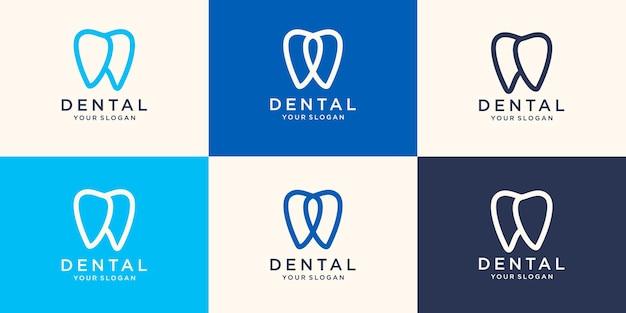ラインアートスタイルのデザインテンプレートベクトルイラストとシンプルな歯科ロゴ