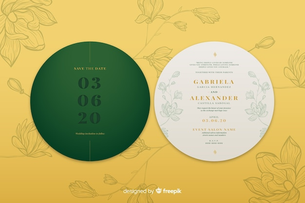 Simple design circular wedding invitation