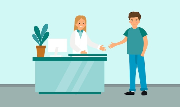 Simple design in flat cartoon style of hospital reception interior and two characters.