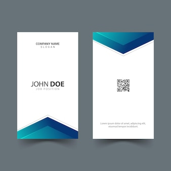 Simple design of vertical id card with blue gradient shapes