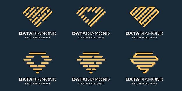 シンプルなダイヤモンドアイコンセット、ダイヤモンド結合要素デジタルまたはデータ。ロゴデザインテンプレート