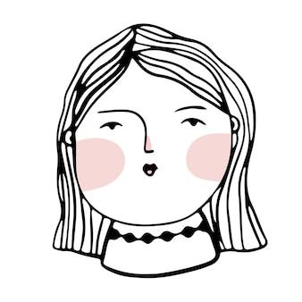Простой стиль каракули лицо простой стиль вектор женское лицо симпатичная девушка с розовыми щеками