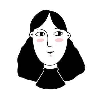 Простой стиль каракули лицо простой стиль вектор женское лицо