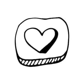 Simple doodle vector heart button for valentine's day cards, posters, wrapping and design. hand drawn heart, isolated on white backdrop. geometric shape, symbol valentine's day illustration.