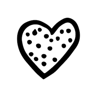 Simple doodle vector heart for valentine's day cards, posters, wrapping and design. hand drawn heart, isolated on white backdrop. geometric shape, symbol valentine's day illustration.