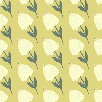 Simple doodle white flowers seamless pattern. yellow background. stylized botanic print. designed for wallpaper, textile, wrapping paper, fabric print.  .