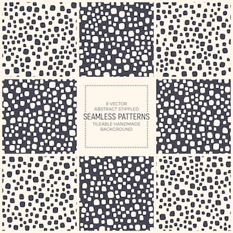 Simple dotted seamless patterns set