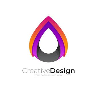 カラフルなアイコン、3dスタイルのシンプルなドロップロゴ