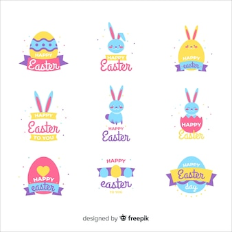 Simple easter day label collection
