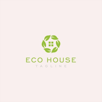 Simple eco house logo