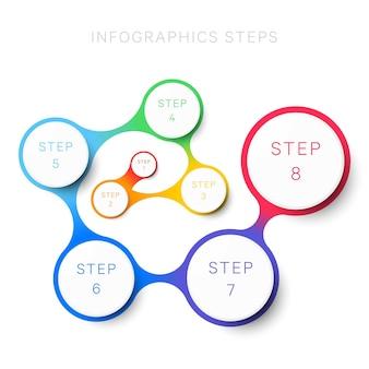 パンフレットバナーのシンプルな8ステップのデザインレイアウトインフォグラフィックテンプレートプロセス図