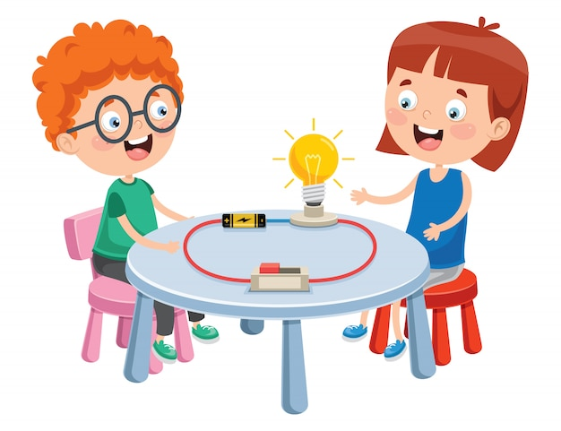 Simple electric circuit experiment for children education