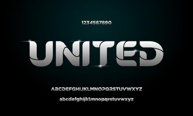 Простой элегантный алфавитный шрифт и номер. типографские шрифты обычные прописные, строчные и числовые
