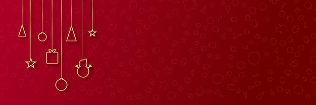 Simple elegant beautiful christmas banner background on red with golden lines