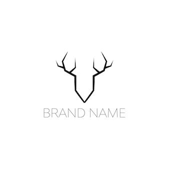 シンプルでエレガントな黒鹿のロゴデザインコンセプト白い背景の上の幾何学的な黒い動物