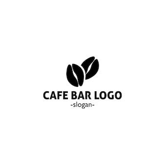 두 개의 커피 콩이 있는 caffe bar의 심플하고 우아한 블랙 로고