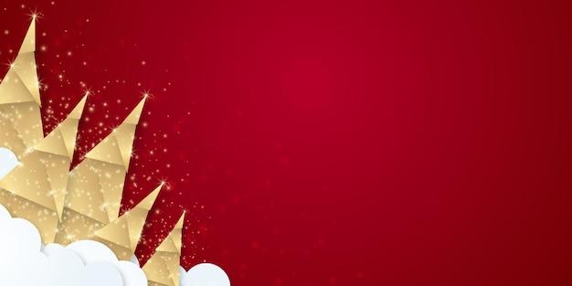 赤いメリークリスマスの背景のスーツの光沢のある金色の木とシンプルでエレガントなクリスマスの背景...