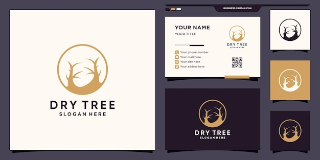 Simple and elegant dry tree logo with square concept and business card design premium vector