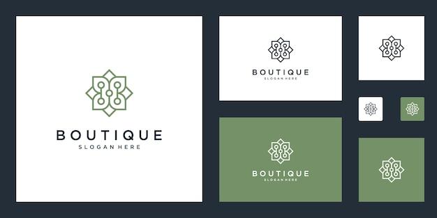 Simple and elegant floral monogram design template, elegant line art logo design,  illustration