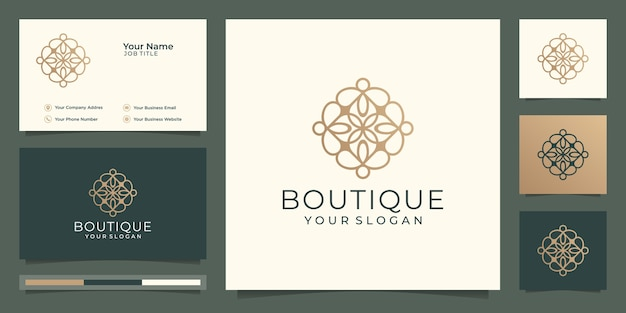 Simple and elegant floral monogram template,boutique gold logo design and business card  illustration  .