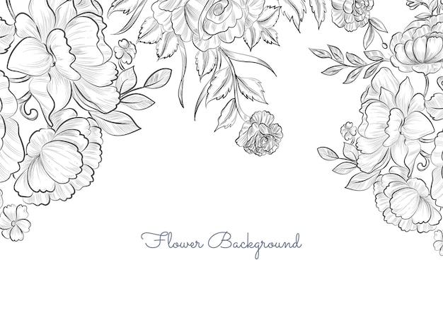 シンプルでエレガントな手描きの花の背景ベクトル