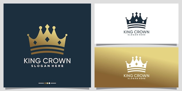 Simple and elegant king crown logo design with golden gradient style color premium vector