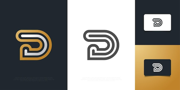 Simple and elegant letter d logo design in white and gold with line style. d symbol for your business company and corporate identity