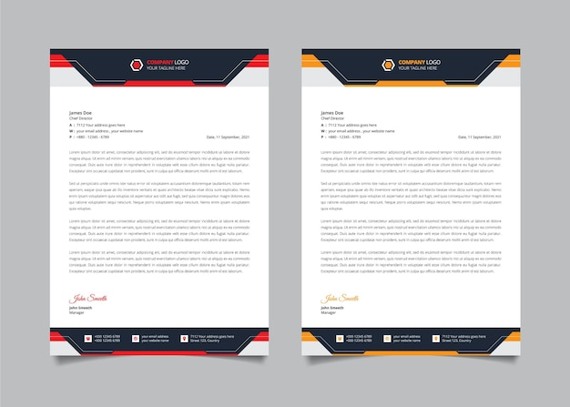 Simple elegant letterhead design template with red and yellow color