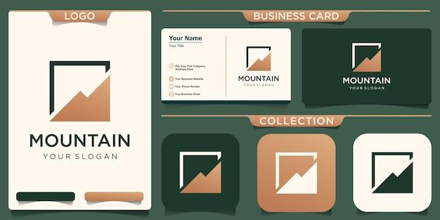 アイデンティティをブランド化するためのシンプルでエレガントな山のロゴ。