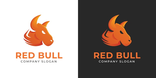 Simple and elegant red bull head logo templates for company and business
