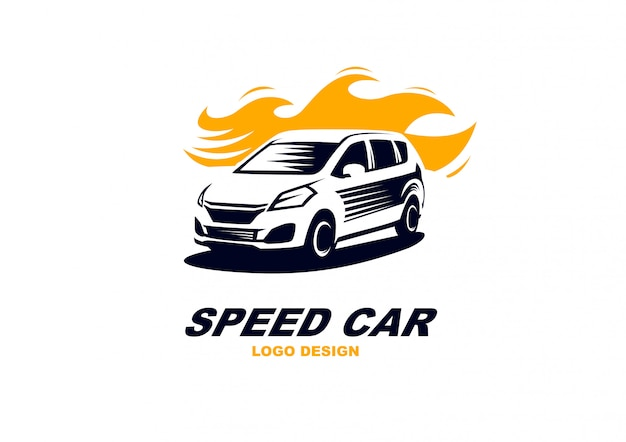 Simple elegant speed car logo vector abtract
