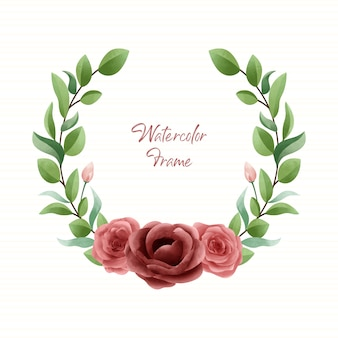Simple elegant watercolor floral frame with red rose