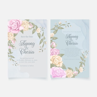 Simple elegant wedding invitation card set with roses