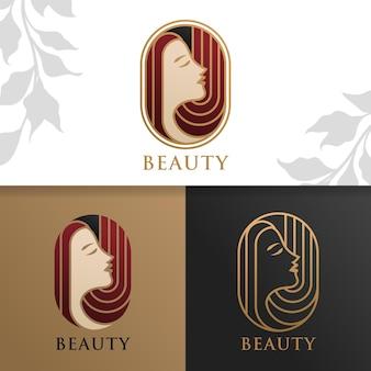Шаблон логотипа простой элегантной женщины красоты