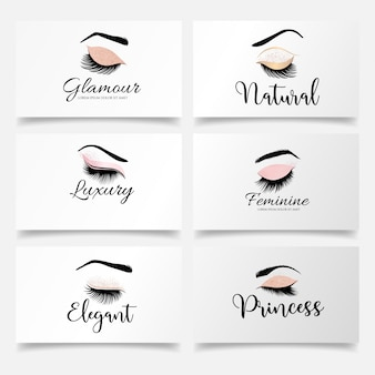 Simple eyelashes logo set editable template